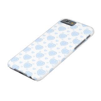 Capa Barely There Para iPhone 6 Corações azuis & brancos românticos
