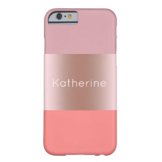 Capa Barely There Para iPhone 6 Coral cor-de-rosa do rosa do ouro do pintinho