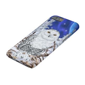 Capa Barely There Para iPhone 6 Coruja nevado no céu azul escuro da neve