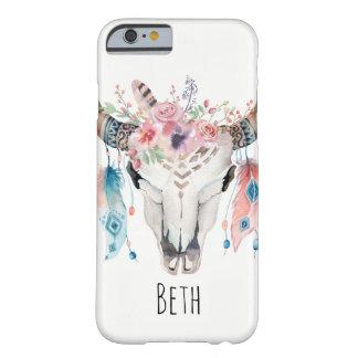 Capa Barely There Para iPhone 6 Crânio da vaca de Boho & convite boémios das penas