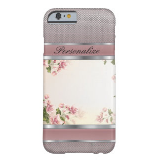 Capa Barely There Para iPhone 6 Design floral e de prata malva elegante do metal