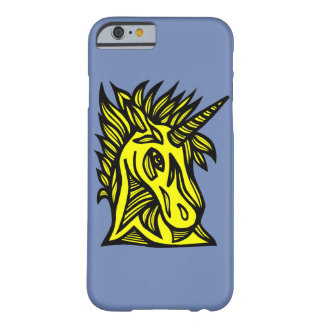 "Capa Barely There Para iPhone 6 Do ""capa de telefone preta amarela unicórnio"""