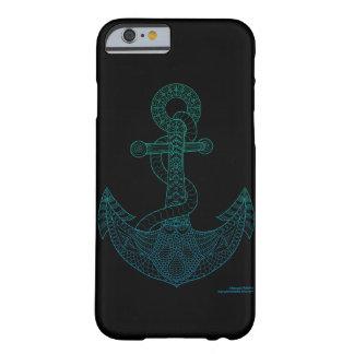 Capa Barely There Para iPhone 6 Do mar náutico do esboço da arte da âncora preto