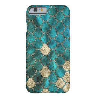 Capa Barely There Para iPhone 6 Escalas verdes da sereia do Aqua com brilho do