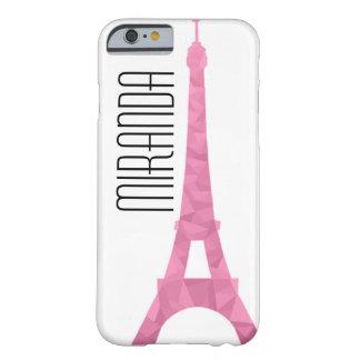 Capa Barely There Para iPhone 6 Exemplo cor-de-rosa de Eiffel da faceta