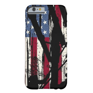 Capa Barely There Para iPhone 6 Exemplo do lineman da bandeira americana