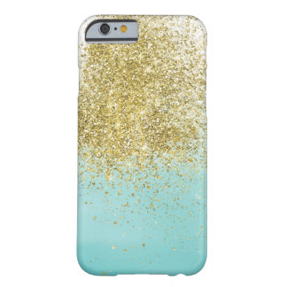 Capa Barely There Para iPhone 6 Faísca da aguarela do Aqua do ouro
