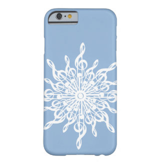 Capa Barely There Para iPhone 6 Floco de neve azul do G-Clef do monograma do