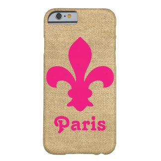 Capa Barely There Para iPhone 6 Flor de lis parisiense cor-de-rosa dos humores