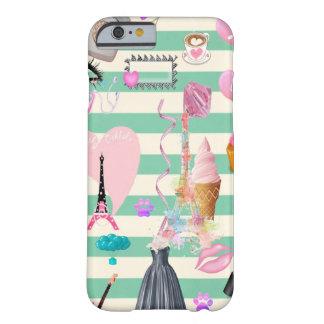 Capa Barely There Para iPhone 6 Forma adorável, Paris, teste padrão dos corações