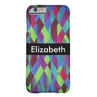 Capa Barely There Para iPhone 6 Fundo quadrado colorido brilhante com nome