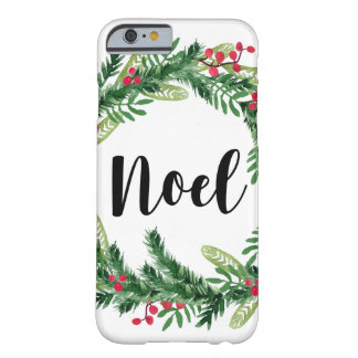 Capa Barely There Para iPhone 6 Grinalda da aguarela do Natal