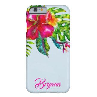 Capa Barely There Para iPhone 6 Hibiscus & folhas florais tropicais brilhantes