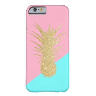 Capa Barely There Para iPhone 6 hortelã elegante do rosa do abacaxi do brilho do
