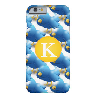 Capa Barely There Para iPhone 6 Ícone Tweeting feliz w/Monogram do Twitter