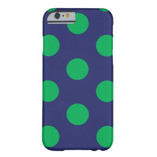 Capa Barely There Para iPhone 6 iPhone 6 azuis marinhos & verdes das bolinhas do