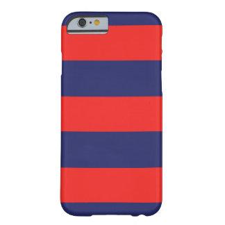 Capa Barely There Para iPhone 6 iPhone 6 azuis marinhos & vermelhos listrados do