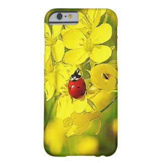 Capa Barely There Para iPhone 6 Joaninha amarelo do vermelho da boa sorte da flor