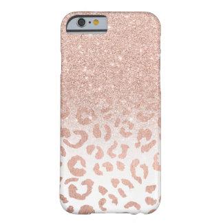 Capa Barely There Para iPhone 6 Leopardo cor-de-rosa do ombre do brilho do ouro do