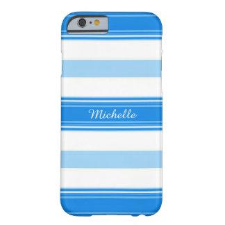 Capa Barely There Para iPhone 6 Listra azul e branca personalizada