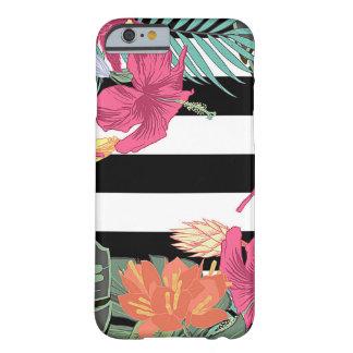 Capa Barely There Para iPhone 6 Listras florais tropicais do branco do preto das