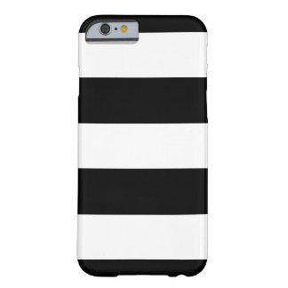 Capa Barely There Para iPhone 6 Listras horizontais pretas & brancas | algum