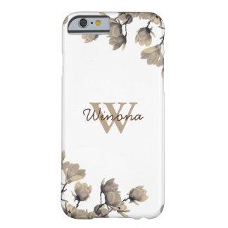 Capa Barely There Para iPhone 6 Magnólias brancas monograma & nome feitos sob