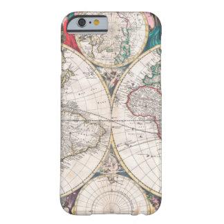 Capa Barely There Para iPhone 6 Mapa do mundo antigo do Dobro-Hemisfério