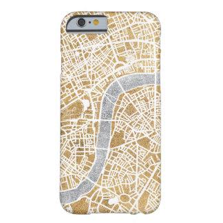 Capa Barely There Para iPhone 6 Mapa dourado da cidade de Londres