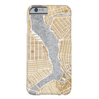 Capa Barely There Para iPhone 6 Mapa dourado da cidade de New York