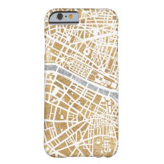 Capa Barely There Para iPhone 6 Mapa dourado da cidade de Paris