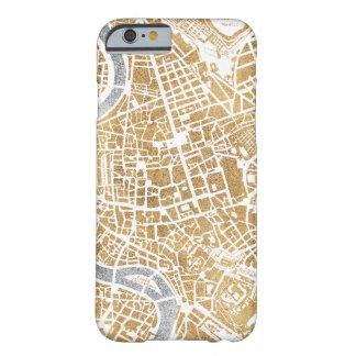 Capa Barely There Para iPhone 6 Mapa dourado da cidade de Roma
