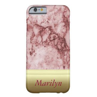 Capa Barely There Para iPhone 6 Mármore cor-de-rosa com listras douradas