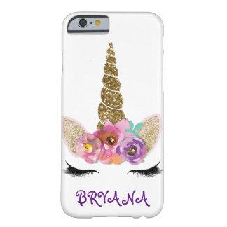 Capa Barely There Para iPhone 6 Meninas florais do chifre do unicórnio da faísca