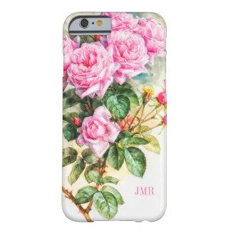 Capa Barely There Para iPhone 6 Monograma Charmingly bonito dos rosas do rosa do