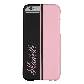 Capa Barely There Para iPhone 6 Monograma cor-de-rosa e preto da listra