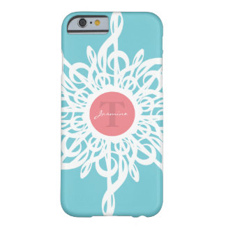 Capa Barely There Para iPhone 6 Monograma da flor do Clef de triplo de MELTPOINT