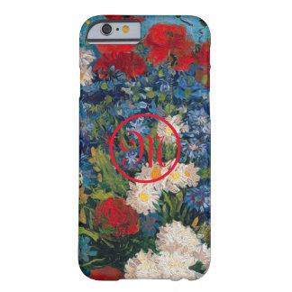 Capa Barely There Para iPhone 6 Monograma das flores de Van Gogh & de Elizabeth -