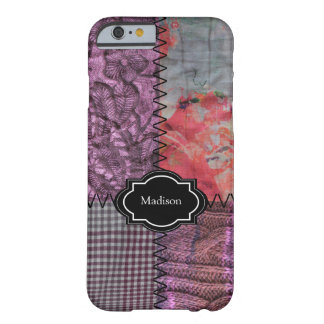 Capa Barely There Para iPhone 6 Monograma feito malha dos retalhos tecido roxo