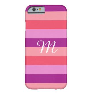 Capa Barely There Para iPhone 6 Monograma listrado roxo e coral