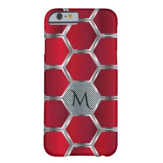 Capa Barely There Para iPhone 6 Monograma vermelho & de prata geométrico moderno