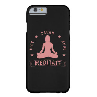 Capa Barely There Para iPhone 6 O amor vivo do riso Meditate texto fêmea (o rosa)
