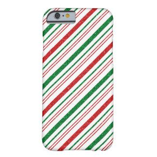 Capa Barely There Para iPhone 6 O brilho verde vermelho listra o Natal