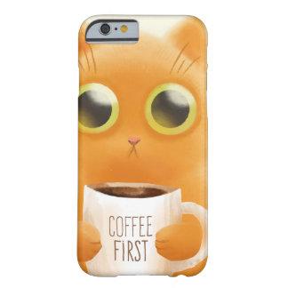 Capa Barely There Para iPhone 6 O gatinho bonito pintado mão com café coloca
