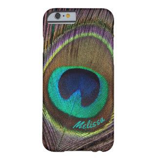 Capa Barely There Para iPhone 6 Olho bonito da pena do pavão, seu nome