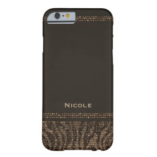 Capa Barely There Para iPhone 6 Ouro Bling elegante chique Glam de Brown da faísca