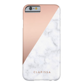 Capa Barely There Para iPhone 6 ouro cor-de-rosa do mármore branco geométrico