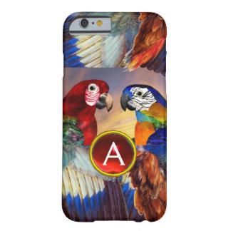 CAPA BARELY THERE PARA iPhone 6 PAPAGAIOS HYPER /RED E MONOGRAMA AZUL DE PEDRA