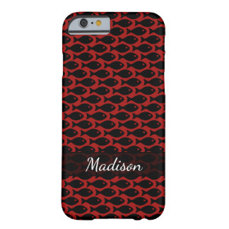 Capa Barely There Para iPhone 6 Peixes pretos em um mar de vermelho, repetindo o