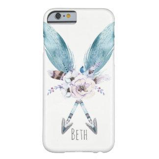 Capa Barely There Para iPhone 6 Pena chique boémia azul das setas de Boho floral